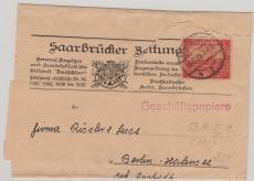 58 A als EF auf Streifband, deklariert als Geschäftspapiere von Saarbrücken nach Berlin