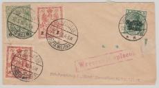 Dt. Bes. Polen Nr.: 2, + Stadtpost Warschau Nrn.: 2, 7+ 8, in MiF auf Brief innerhalb Warschaus, 1915