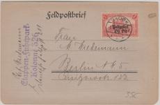 Ober Ost, Nr.: 12 als EF auf Feldpostbrief von Bausk nach Berlin