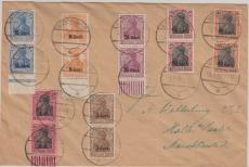 Etappengebiet West, Nr.: 1, 3, 6, 7, 8, 9 + 10 (meist mehrfach) als Brief von ? nach Halle