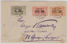 Oberschlesien, Nrn.: 41- 43 auf  Satz- Fernbrief von Oppeln nach Dt. Gnoyen (?)