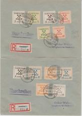 Großräschen 31- 42, kpl. Satz auf 2 E. briefen, in div. Papiersorten (!)