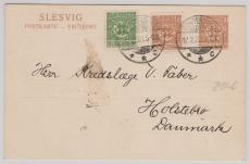 Schleswig, Nrn.: 1 +2, in MiF als ZS-Frankatur auf 2,5 Pfg. GS, als Auslandspostkarte von Sonderburg nach Holstebro