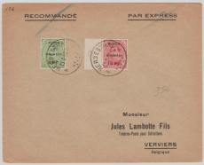 Eupen + Malmedy, 1A + 2A in Mif auf Brief von Herbestahl nach Verviers