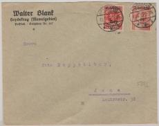 Nrn: 126 + 131 als wertgleiche- Ausgaben- MiF auf Brief von Heydekrug nach Jena
