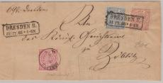 Nrn.: 3, 4 + 5 schöne 3 - Farben MiF auf Briefvorderseite von Dresden nach Böblitz (?)