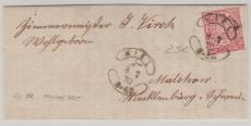 Nr.: 16 als EF auf Brief von Kiel nach Malkow (?), mit schönem Kieler Würstchenstempel