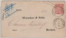 1 Groschen GS- Umschlag als Brief von Düsseldorf nach Bremen, mit besseren Düsseldorfer Hufeisenstempel!