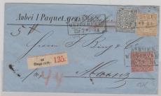 Nrn.: 1, 5 + 6 als MiF auf Paketbegleitbrief von Barmen nach Mainz