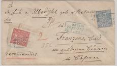 Nrn.: 4+ 5 als MiF auf Einschreiben- Fernbrief von Berlin nach Franzensbad