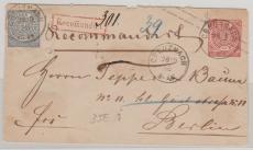 1 Groschen GS- Umschlag mit Nr. 2 als Zusatzfrankatur auf Einschreiben Fernbrief von Creuznach nach Berlin!