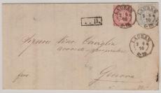 16 + 17 als Mif auf Auslands- Fernbrief von Lauban nach Genova