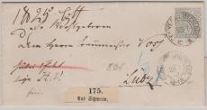Nr. 17 Als EF auf Paketbegleitbrief von Schwerin nach Lübz
