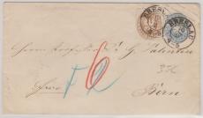 Nr. 18 als Zusatzfrankatur auf 2 Sgr.- Gs- Umschlag (U21b), als Auslandsbrief von Breslau nach Bern