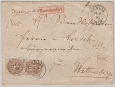 Nr.: 18 (2x) als MeF auf Einschreiben- Fernbrief von Berlin nach Wittenberge