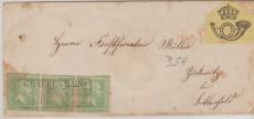 Nr.: 9 (3x), im 3er- Streifen, als Fernbrief von Graefenhain nach Köstritz (?)