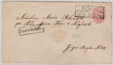 1 Sgr.- GS- Umschlag, verwendet als Stadtbrief innerhalb Berlins, mit besserem Stempel Franco Stadtbrief