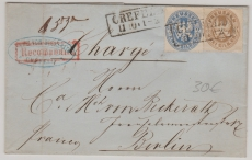 Nr.: 17 + 18 verwendet als MiF verwendet auf Einschreiben- Fernbrief von Crefeld nach Berlin