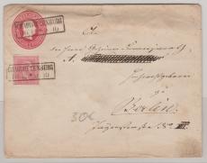 Gr. 1 Sgr.- GS- Umschlag, + Nr.: 10 als Zusatzfrankatur, verwendet als Ortsbrief innerhalb Berlins