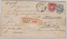 2 Sgr.- GS- Umschlag, + Nr.: 16 in MiF / als Zusatzfrankatur, verwendet auf Paketbegleitbrief von FFO nach Wittenberg