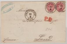 Nr.: 16 (2x) als MeF auf Auslandsbrief von Cöln nach Gand (F)
