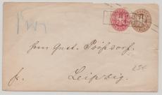 3 Sgr. GS- Umschlag + Nr. 16 als Zusatzfrankatur auf Fernbrief von Nordhausen nach Leipzig