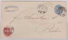 2 Sgr.- Gs- Umschlag mit 1x Nr. 18 als Zusatzfrankatur, von Breslau nach Berlin