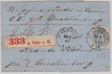Nr.: 17 als EF auf Paketbegleitbrief von Calbe nach Quedlienburg