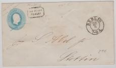 2 Sgr.- GS- Umschlag, als Fernbrief von Berlin nach Stettin