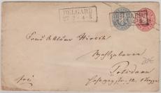 1 Sgr.- GS- Umschlag, + Nr. 17 als Zusatzfrankatur, auf Fernbrief von Belgard nach Potsdam