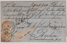 Nr.: 18 (2x) als MeF, auf Paketbegleitbrief von Cöln nach Berlin