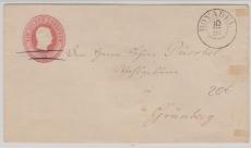 1 Sgr.- GS- Umschlag, als Fernbrief von Boyadel nach Grünberg
