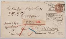 3 Sgr.- GS- Umschlag, als Paketbegleitbrief von Berlin nach Quedlienburg