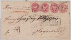 1 Sgr.- GS- Umschlag mit 4x Nr. 16 als Zusatzfrankatur, auf Einschreiben- Fernbrief von Berlin nach Magdeburg