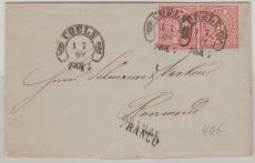 Nr.: 16 (2x) als Auslandsbrief von Coeln nach Roermond (Niederlande), mit schönem, kleinem Hufeisenstempel, Coeln