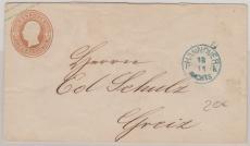 3 Groschen GS- Umschlag, verwendet als Fernbrief von Hannover nach Greiz