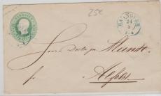 1 Groschen GS- Umschlag (U1 ?), verwendet als Fernbrief von Hannover nach Alfeld