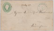 1 Groschen GS- Umschlag, verwendet als Fernbrief von Eystrup (guter Stempel!) nach L...