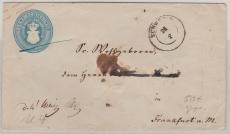 5 Sh.- GS- Umschlag (U4A), gelaufen als Fernbrief von Schwerin nach FFM, geprüft Berger BPP
