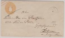 3 Sh.- GS- Umschlag (U3A), gelaufen als Fernbrief von Plau nach Doberan, geprüft Berger BPP