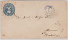 5 Sh.- GS- Umschlag, gebraucht als Fernbrief von Rostock nach Fürstenberg