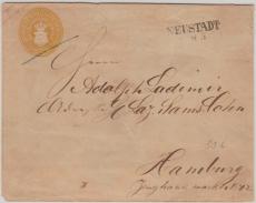 3 Sh.- GS- Umschlag (groß), gebraucht als Fernbrief von Neustadt nach Hamburg