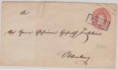 1 Gr.- GS- Umschlag, verwendet als Fernbrief von Jever nach Oldenburg