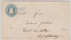 1 Gr.- GS- Umschlag, verwendet als Fernbrief von Burhave nach Troiest (?)