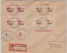 Spremberg Nrn.: 17 + 18 (je 4x) + 10 +12 zus. auf E.- Brief