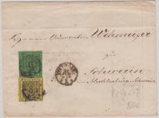 Nr. 2 + 6, verwendet als MiF auf Fernbrief von Stuttgart nach Schwerin, rs. 5 Stempel