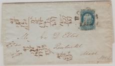USA 1852, 1 Cent B. Franklin auf Brief von Bosten nach Nantucket / Mass
