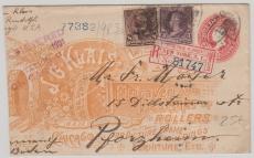 USA 1901 netter Privatganzsachenumschlag mit Zusatzfrankatur als E.- Brief nach Pforzheim, dekorativ!