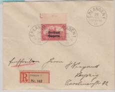 Nr.: 148 vom OR mit Passerkreutz, als EF auf Einschreiben- Fernbrief von Erlangen nach Leipzig, rs mit Ankunftsstempel