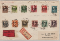 Nrn.: 118 IIA - 27 IIA, zusammen auf Einschreiben- Eilboten- Brief von München nach Breslau, rs. mit Ankunftsstempel